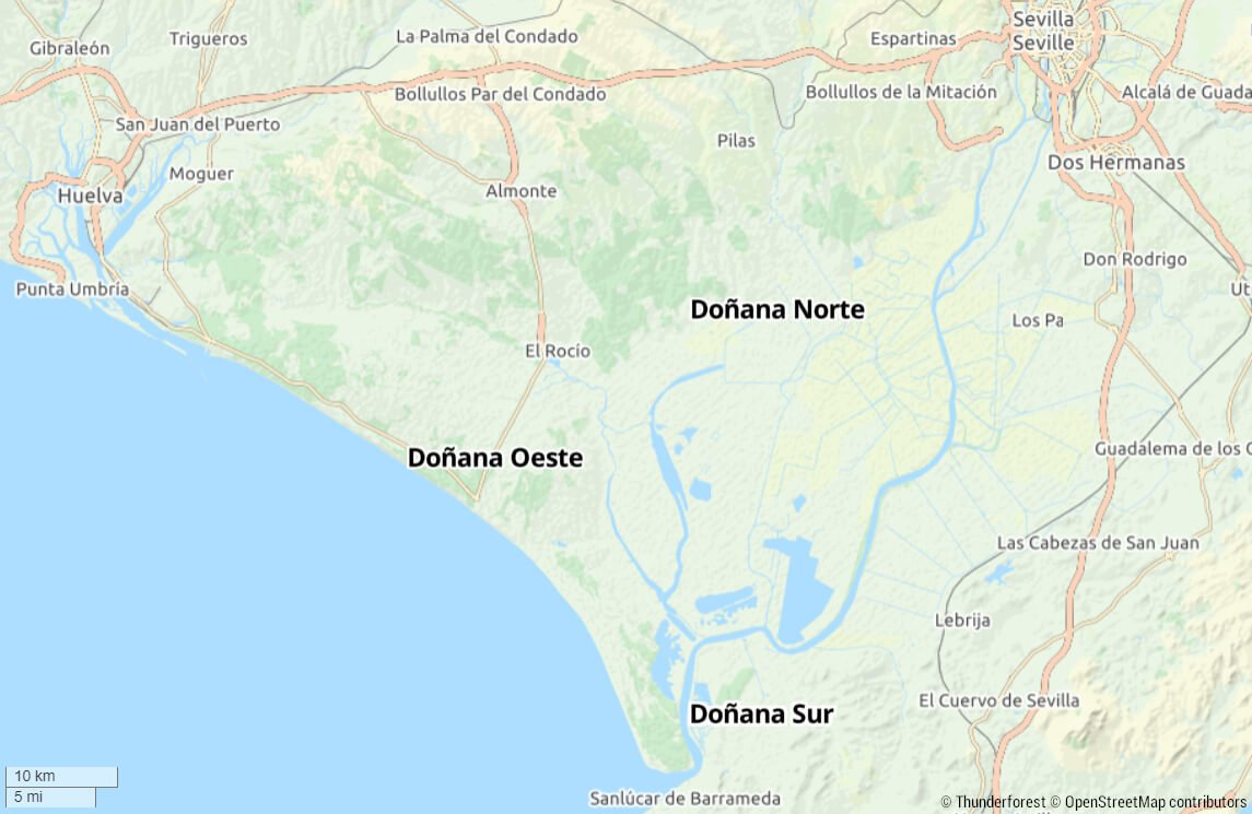 mapa parque nacional donana